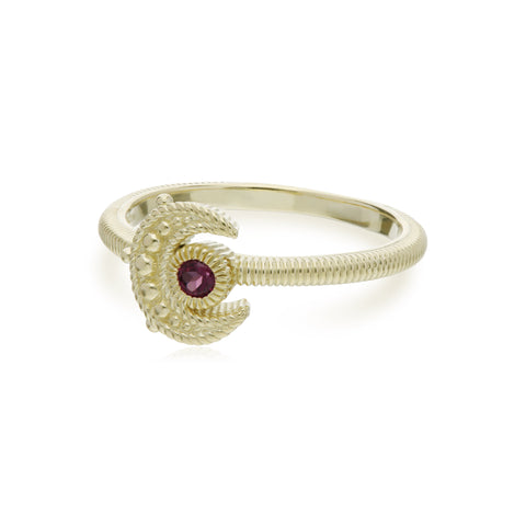 RIPKA Lucky Rhodolite Moon Ring