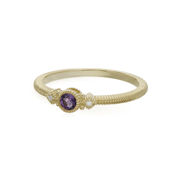 RIPKA La Petite Amethyst Round Stack Ring with Diamond Accents