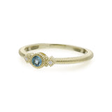 RIPKA La Petite Swiss Blue Topaz Round Stack Ring with Diamond Accents