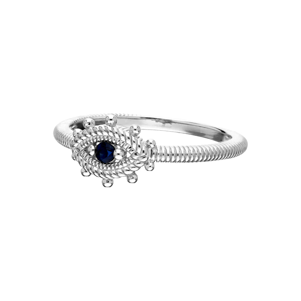 Little Luxuries Blue Sapphire Evil Eye Band Ring