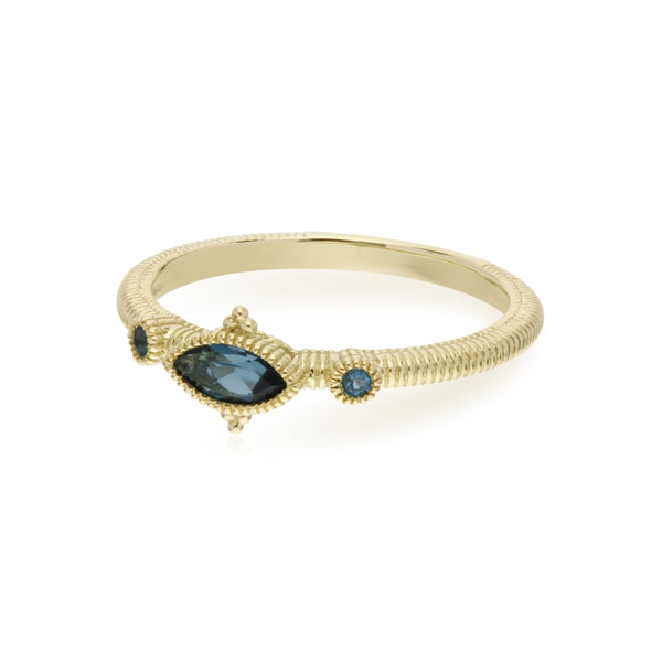 RIPKA La Petite London Blue Topaz Marquise and Round Stone Ring