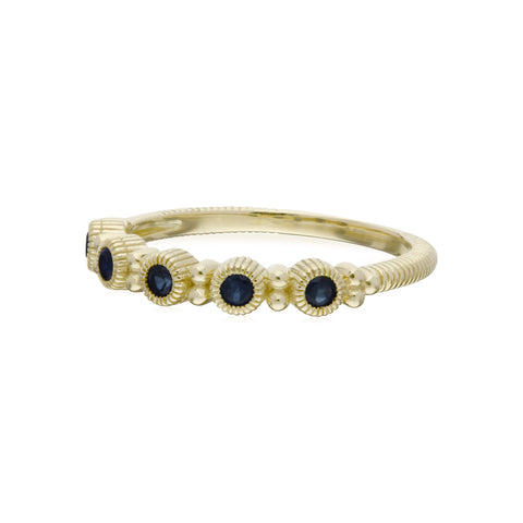 RIPKA La Petite Band Ring with Round Blue Sapphire Stones