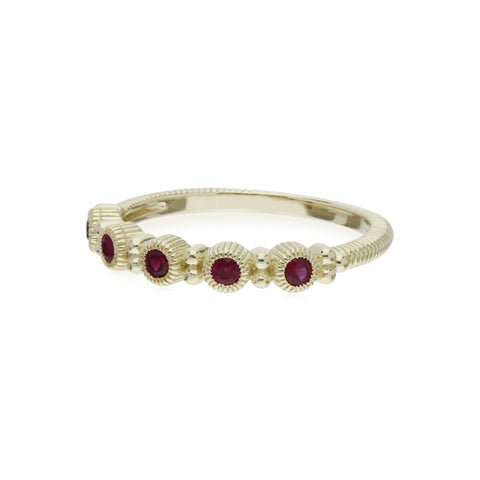 RIPKA La Petite Band Ring with Round Ruby Stones
