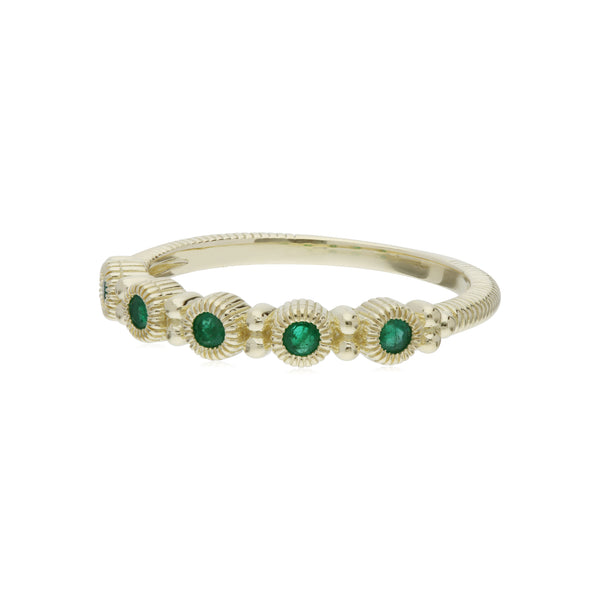 RIPKA La Petite Band Ring with Round Emerald Stones