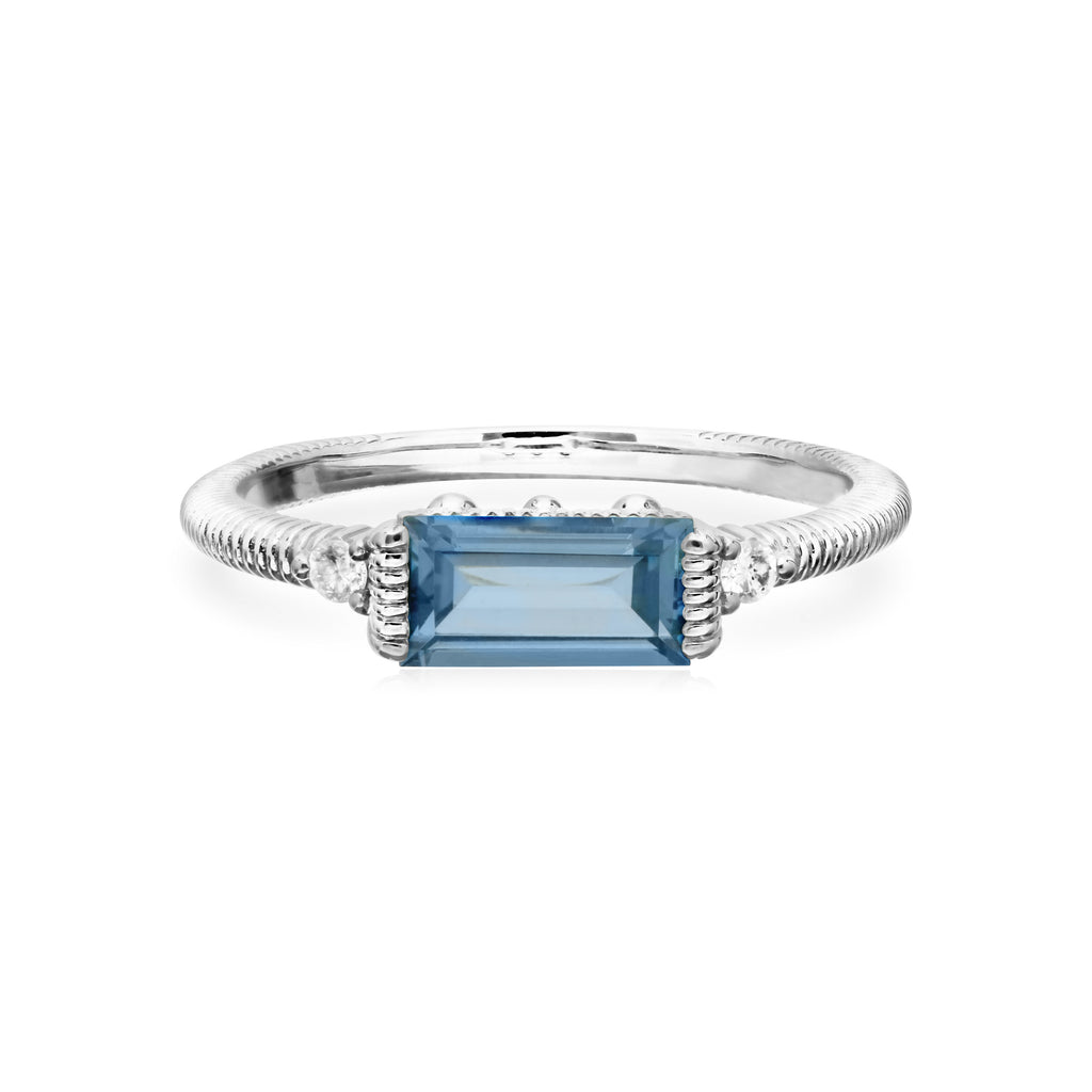Little Luxuries Swiss Blue Topaz Baguette Stack Ring with Man Made Diamonds