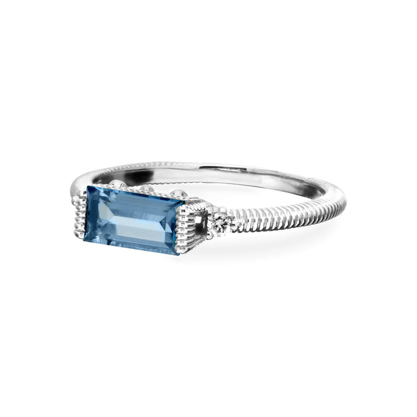 Little Luxuries Swiss Blue Topaz Baguette Stack Ring with Cultured Diamonds