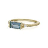 RIPKA La Petite Light Swiss Blue Topaz Baguette Stack Ring with Diamond Accents