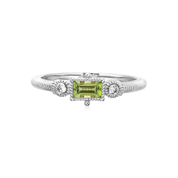 Little Luxuries Bezel Set Peridot Baguette Stack Ring with Cultured Diamonds