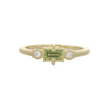 RIPKA La Petite Bezel Set Peridot Baguette Stack Ring with Diamond Accents