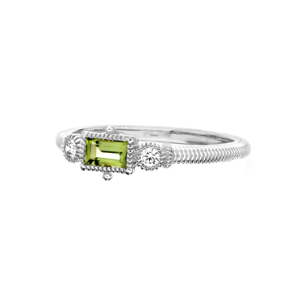 Little Luxuries Bezel Set Peridot Baguette Stack Ring with Man Made Diamonds