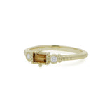 RIPKA La Petite Bezel Set Citrine Baguette Stack Ring with Diamond Accents