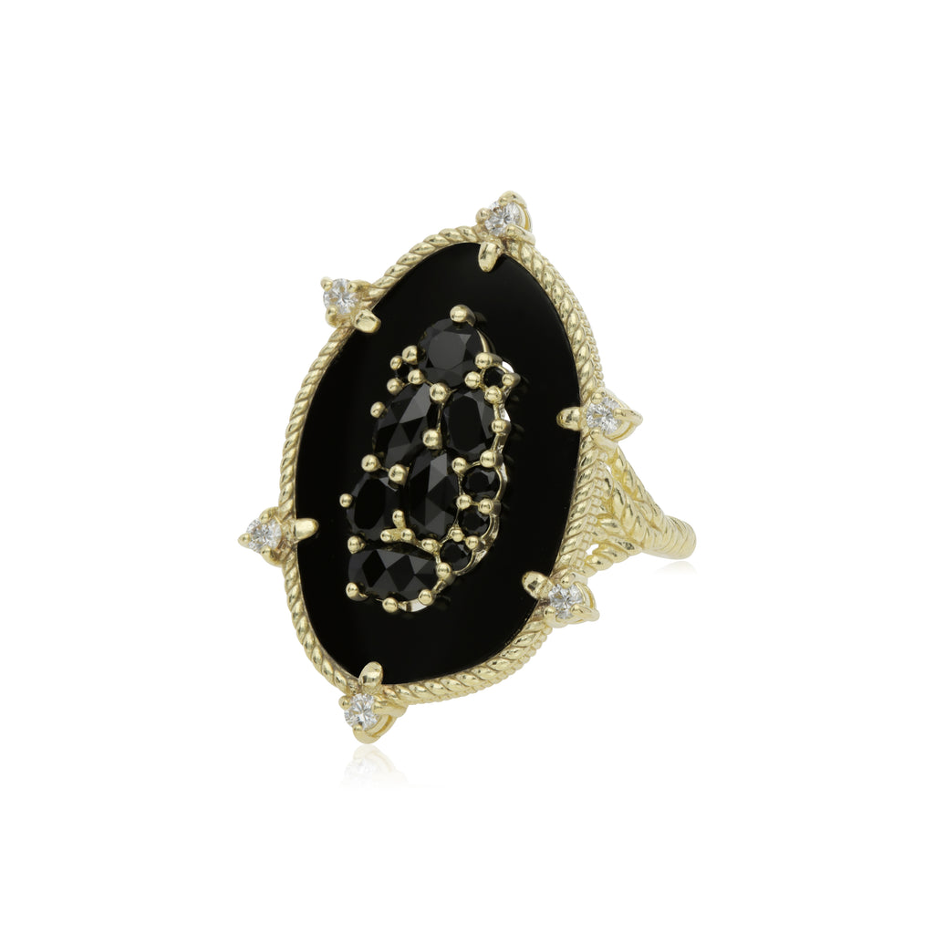 18K Oasis Black Onyx & Black Spinel Large Stone Ring with Diamond Accents