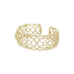 18K Lattice Wide Cuff with Diamond Accents