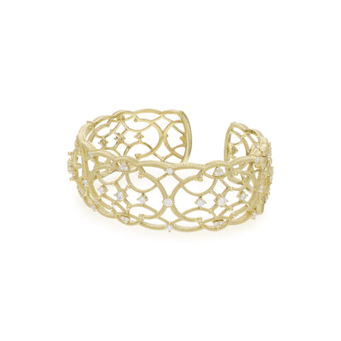 JUDITH RIPKA 18K LTD Lattice Wide Cuff with Diamond Accents
