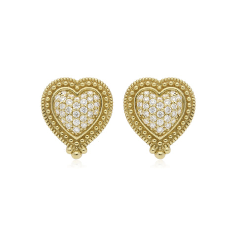 RIPKA Romance Pavé Diamond Heart Stud Earrings