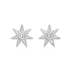 Little Luxuries Star Stud Earrings with White Topaz