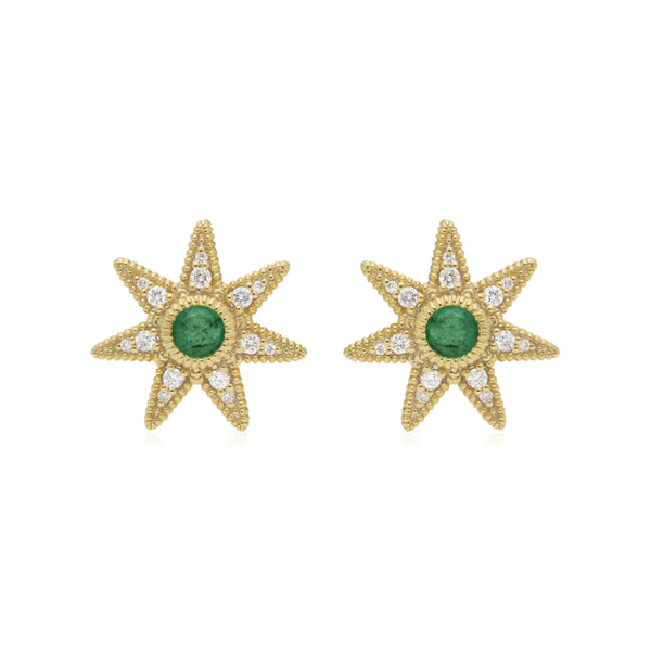 RIPKA Juliette Emerald & Diamond Star Stud Earrings