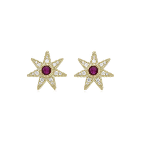 RIPKA Juliette Ruby & Diamond Star Stud Earrings