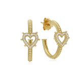 RIPKA Romance Pavé Diamond Open Heart Hoop Earrings