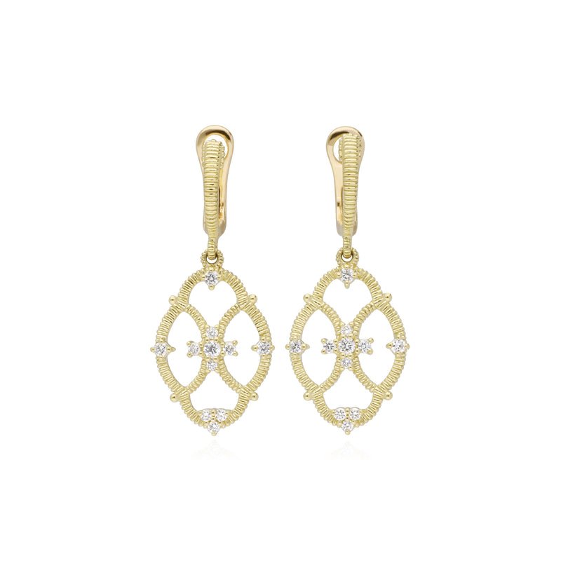 18K Lattice Small Earrings with Diamond Accents