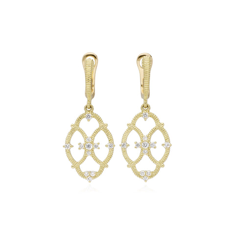 JUDITH RIPKA 18K LTD Lattice Small Earrings with Diamond Accents