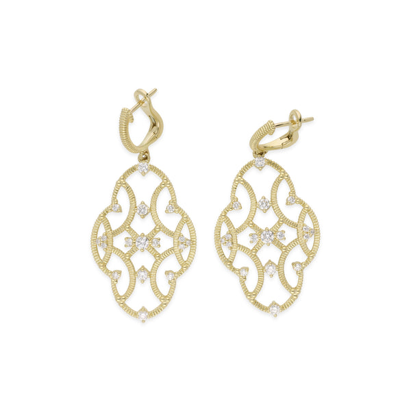 18K Lattice Large Earrings with Diamond Accents