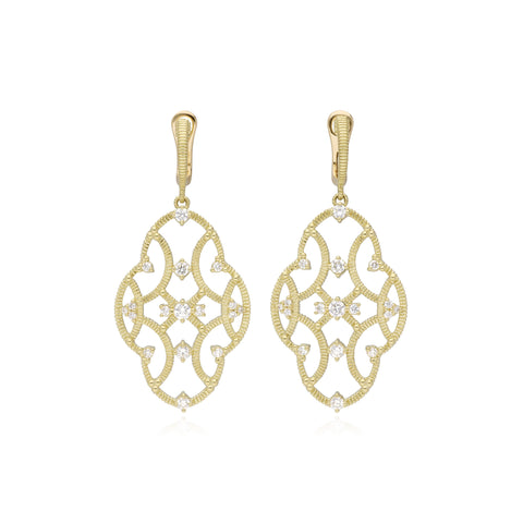 JUDITH RIPKA 18K LTD Lattice Large Earrings with Diamond Accents