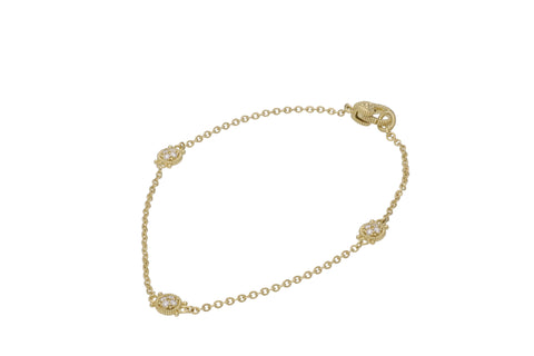 RIPKA Juliette Round Gold & Pavé Diamond Station Bracelet
