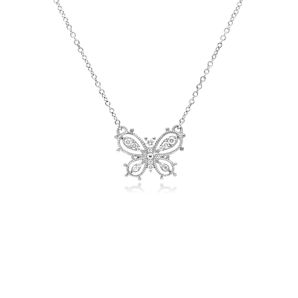 Little Luxuries Butterfly Pendant with Man Made Diamonds
