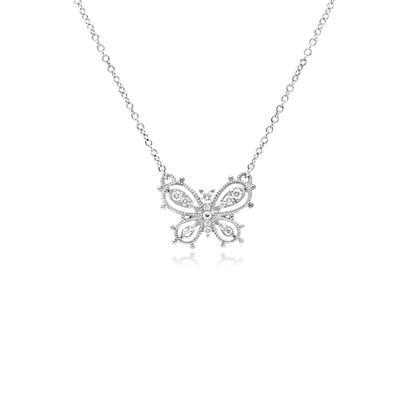 Little Luxuries Butterfly Pendant with Cultured Diamonds