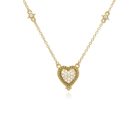 RIPKA Romance Pavé Diamond Heart Y Necklace