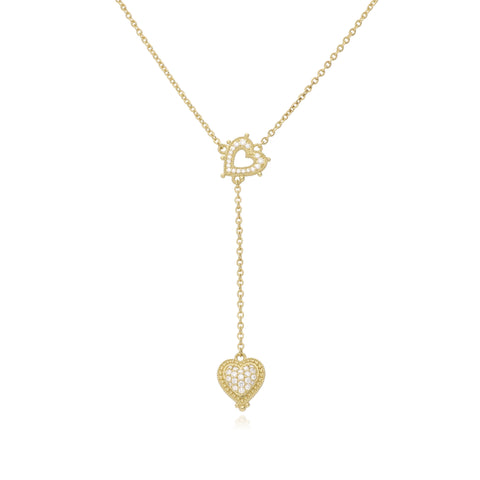 RIPKA Romance Pavé Diamond & Open Heart Y Necklace