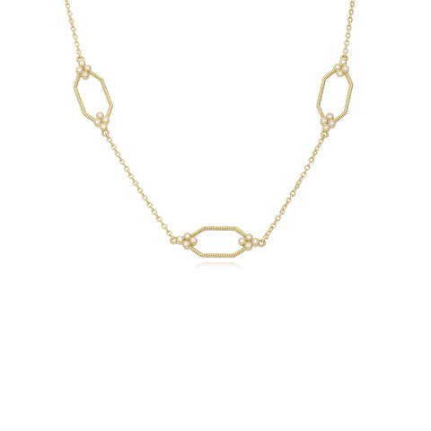 RIPKA Juliette Bezel Set Diamond Hexagon Station Chain Necklace