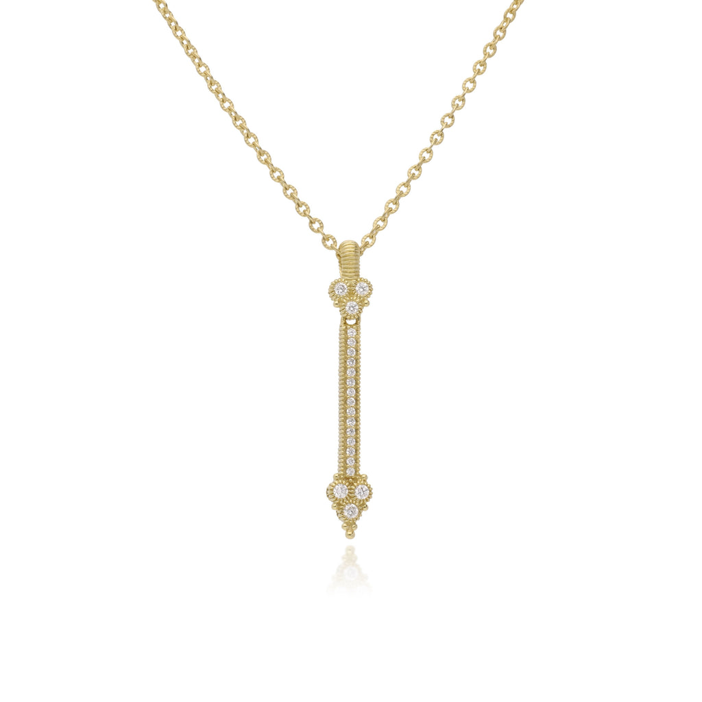 Juliette Pavé Diamond Stick Pendant with Bezel Set Diamond Top and Gothic Bezel Set Diamond Bottom