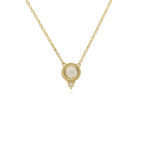 RIPKA Juliette Round Pavé Diamond Pendant with Bezel Set Diamond Accent