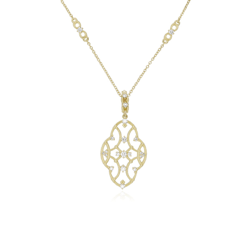 18K Lattice Large Pendant with Diamond Accents