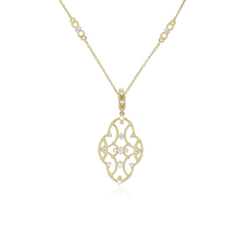 JUDITH RIPKA 18K LTD Lattice Large Pendant with Diamond Accents