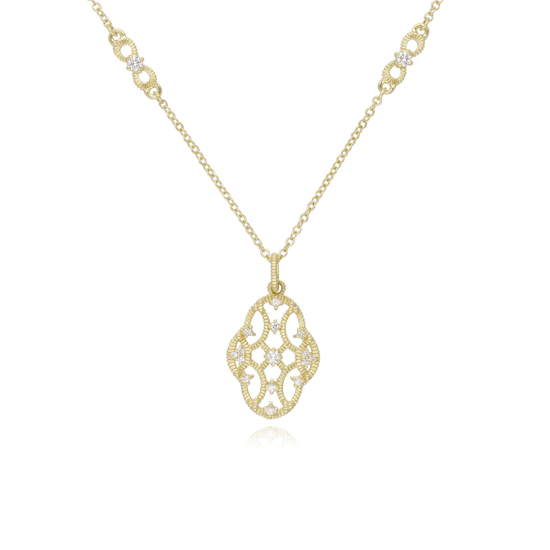 18K Lattice Small Pendant with Diamond Accents