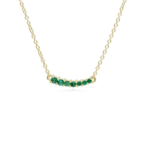RIPKA Juliette Graduated Emerald Zambia Bar Necklace