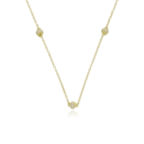 RIPKA Juliette Triple Oprah Barrel Necklace with Diamond Accents