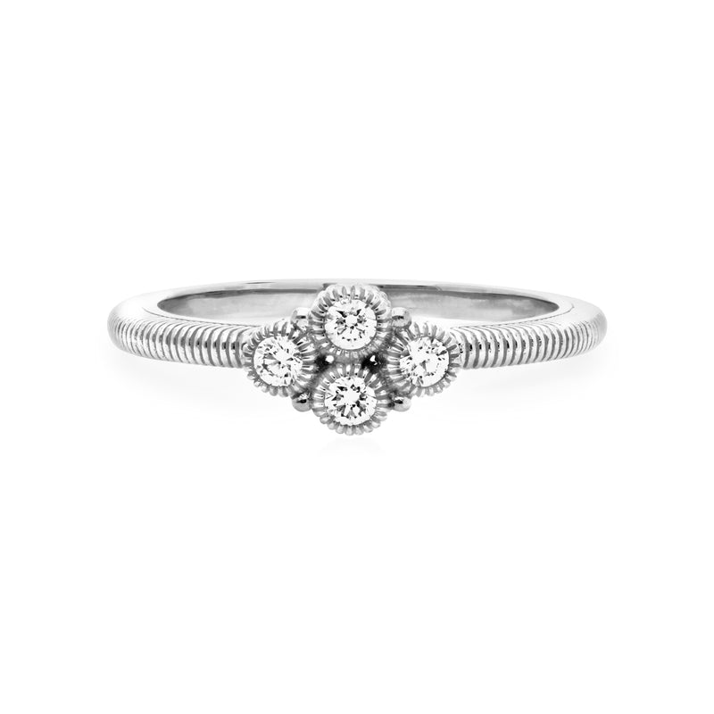 Little Luxuries Clover Ring with Cultured Diamonds