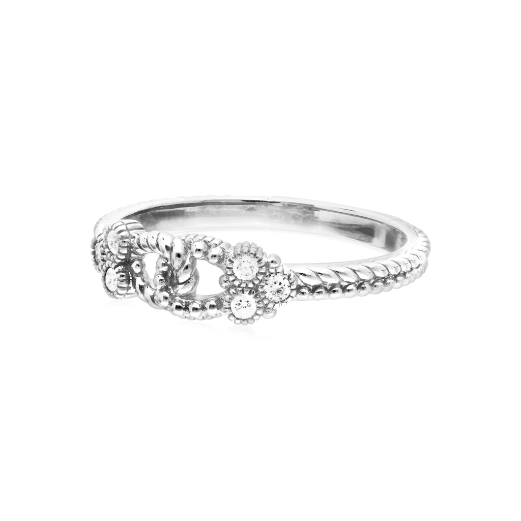 Little Luxuries Triple Linked Band Ring with Man Made Diamonds