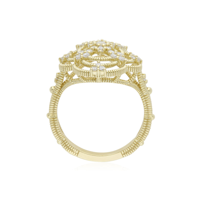 18K Lattice Cocktail Ring with Diamond Accents