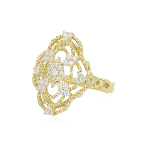 JUDITH RIPKA 18K LTD Lattice Cocktail Ring with Diamond Accents