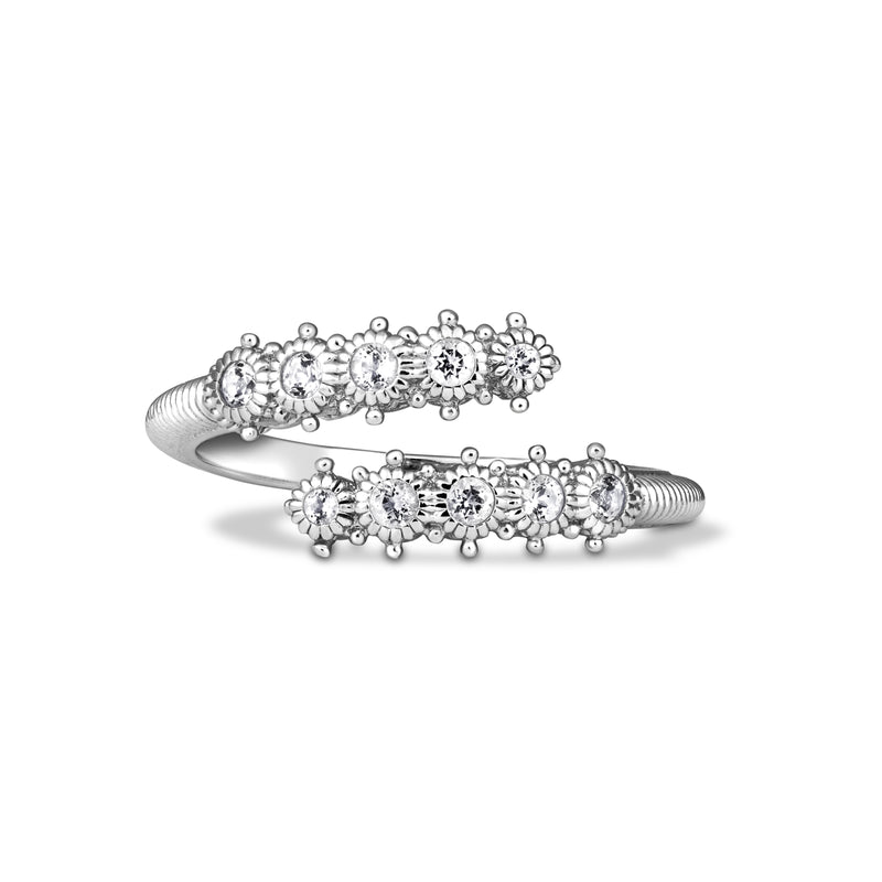 Little Luxuries White Topaz Single Band Bypass Ring