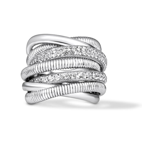 Eternity Wide Band Ring with Two Rows of White Topaz Pavé