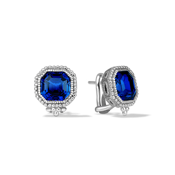 Estate Synthetic Blue Sapphire Earrings