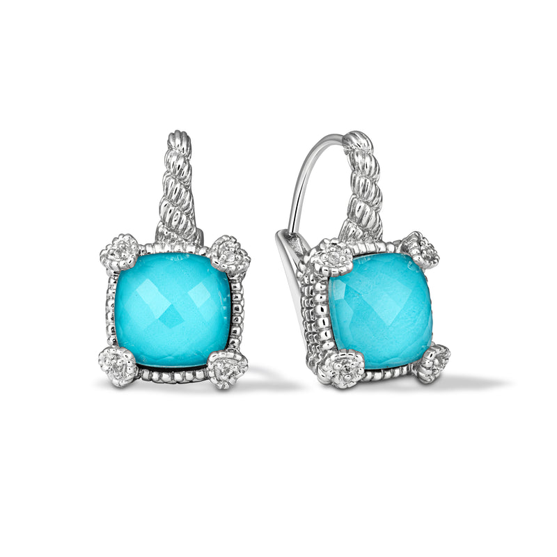 Little Luxuries Turquoise & Rock Crystal Quartz Drop Earrings with White Topaz Heart Prongs