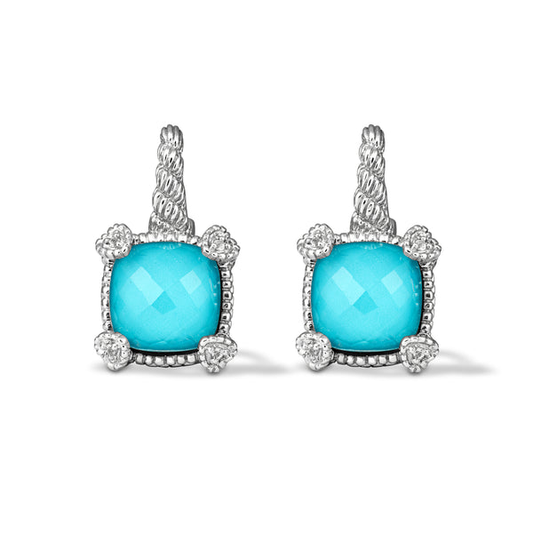 Little Luxuries Turquoise & Rock Crystal Quartz Doublet Drop Earrings with White Topaz Heart Prongs