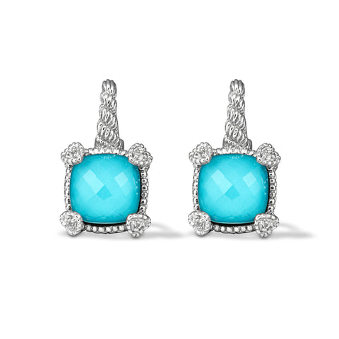 RIPKA La Petite Turquoise & Rock Crystal Quartz Drop Earrings with White Topaz Heart Prongs